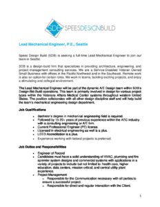 Lead Mechanical Engineer – Leadership/Management Role to help build and expand our Mechanical Engineering Team